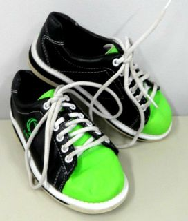 YOUTH CIRCLE BRAND GIRLS BOYS BOWLING SHOES SZ 13 GREEN BLACK BOWL