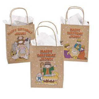 12 Happy Birthday Jesus Nativity Christmas Gift Bags Holiday Wisemen