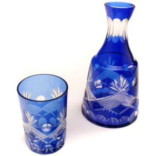 Antique COBALT BLUE Cut Glass CARAFE and & TUMBLER Set