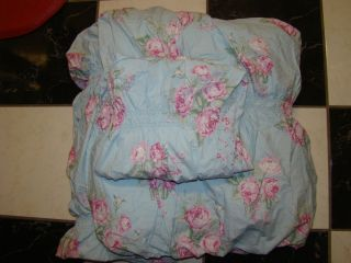 New Simply Shabby Chic Cabbage Rose Rouched King Duvet w 1 King Shams