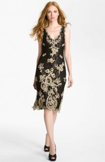 Kay Celine V Neck Embroidered Mesh Sheath Dress