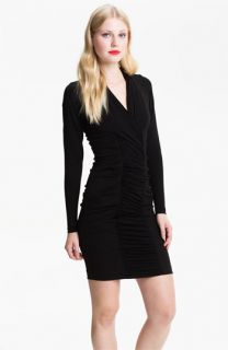 Nicole Miller Long Sleeve Ruched Panel Ponte Sheath Dress