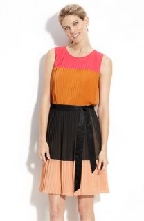 DKNY Colorblock Pleat Detail Dress