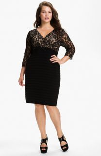 Adrianna Papell Lace Bodice Banded Sheath Dress (Plus)