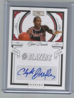 2010 NATIONAL TREASURES CLYDE DREXLER AUTO 15 25 BLAZERS HALL OF FAME