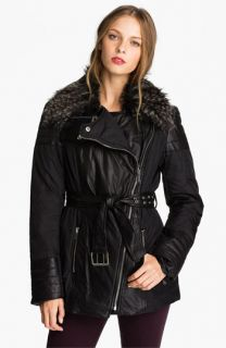 MICHAEL Michael Kors Mix Media Jacket with Faux Fur Trim