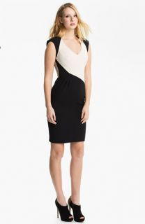 Black Halo Jagger Lace Detail Colorblock Sheath Dress