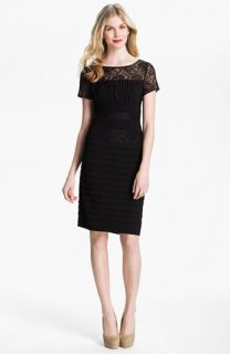 Adrianna Papell Illusion Yoke Pleated Jersey Dress