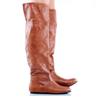 Cognac Designer Inspired Slouchy Round Toe Womens Flat Knee High Boots