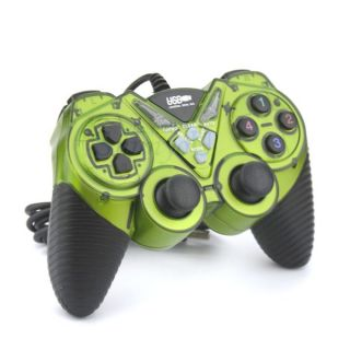 Hot Green USB PC Double Dual Shock Games Controller for PC GAME