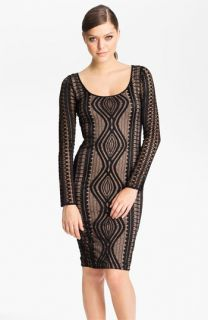 BCBGMAXAZRIA Long Sleeve Lace Sheath Dress