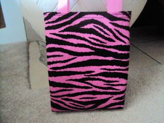 Zebra Pink and Black Fabric Party Favors Bags Totes Bags HM