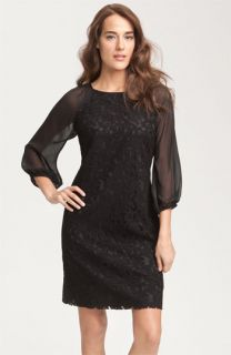 Adrianna Papell Lace & Chiffon Shift Dress