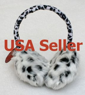 Premium Winter Women Girls leopard faux fur ear muffs warmer Fluffy