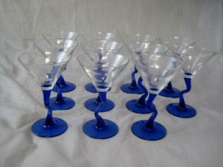 water drinking glasses with cobalt blue curved stems unique