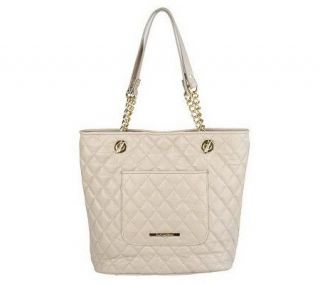 Isaac Mizrahi Live Quilted Leather Tote with Chain Detail   A218730
