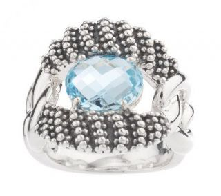 Michael Dawkins Sterling 2.20 ct tw Blue Topaz Chain Link Ring