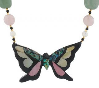 Lee Sands Butterfly 20 Inlay Necklace —