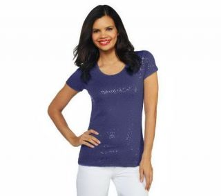 Isaac Mizrahi Live Short Sleeve Sequin Scoop Neck T Shirt —