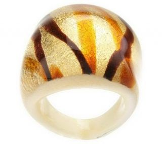 Bold Oval Murano Glass Ring w/ Colored Splatter Design   J261551