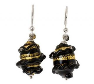Murano Glass Sterling Ruffled Swirl Free FormEarrings   J306361