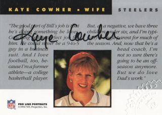 Portraits Wives Autograph Kaye Cowher Auto Pittsburgh Steelers