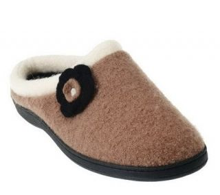 Acorn Indoor/Outdoor Boiled Wool Slipper w/Flower Detail —