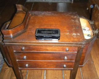 1910 Antique Martha Washington Side Table White Rotary Sewing Machine