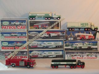 HESS TOY TRUCK FIRE POLICE BANKS TANKER SUNOCO COLLECTION 16 Pcs 1980s