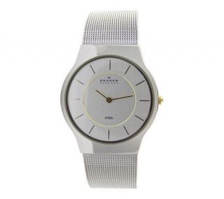 Skagen Mens Stainless Steel Mesh Bracelet Watch —