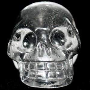 Long Art Glass Crystal Serenity Clear Quartz Skull Trick or Treat