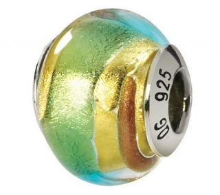 Prerogatives Sterling Gold & Green Italian Murano Glass Bead   J111792