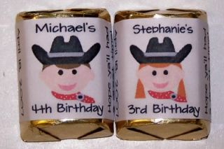 60 Cowboy Cowgirl Birthday Party Candy Wrappers Favors