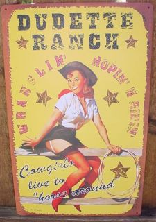 Western Cowgirl Pin Up Dudette Ranch Ad Sign Rodeo Bar Tin