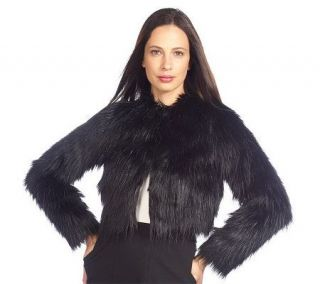 Isaac Mizrahi Live Cropped Faux Fur Bolero with Pockets   A210330