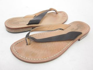 Da Costanzo Dark Brown Leather Thong Sandals Shoes 37 7