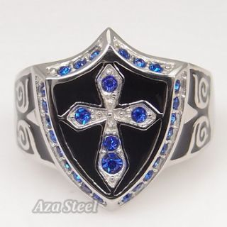 Mens Silver Sapphire Crystal Cross Noble Knight Stainless Steel Ring