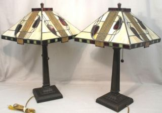 of 2 Dale Tiffany Mission Henderson Cream Glass Accent Lamps