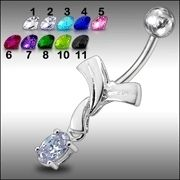 1pc Fancy Dangling Jeweled Belly Ring