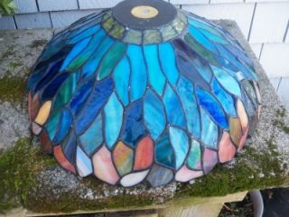 Vintage Dale Tiffany Stained Glass Lampshade Signed on Plaque Inside