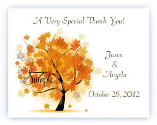 Custom Personalized Fall Autumn Tree Wedding Bridal Thank You Cards