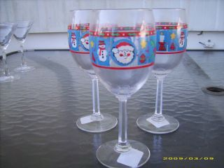 THREE CUTE CHRISTMAS WINE GLASSES, SANTA,FROSTY,CANDLE. HOLY,STAR