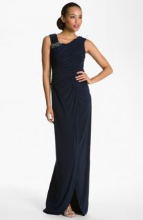 Adrianna Papell Crystal Brooch Ruched Jersey Gown