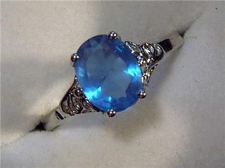Sterling Silver Faux London Blue Topaz Ring Sz 7 New