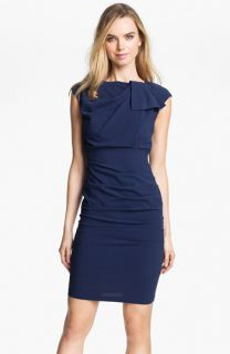 Nicole Miller Origami Pleat Ruched Sheath Dress