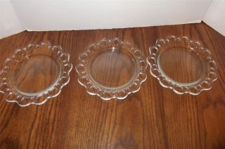 VINTAGE ANCHOR HOCKING CLEAR DEPRESSION GLASS LACED EDGES PLATES
