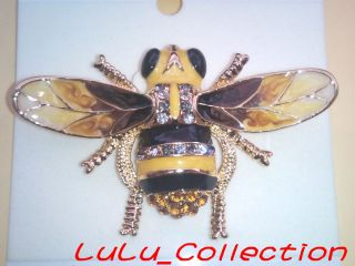 New RUCINNI Swarovski Crystal Bumble Bee Yellow Hornet Brooch Pin 9022