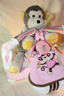 Custom DIAPER TRIKE MONKEY gift baby shower diaper cake SCENTSY girl
