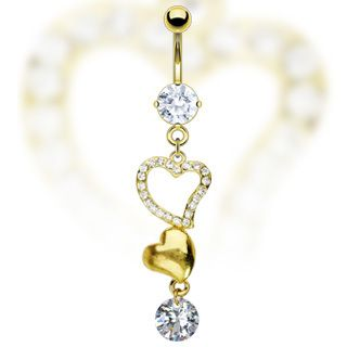 Fancy Clear Gem Double Heart Dangle Navel Belly Ring Gold Plated
