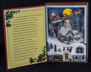 LED Resin Christmas Music Book Blowing Snow Village Carolers Lights Up